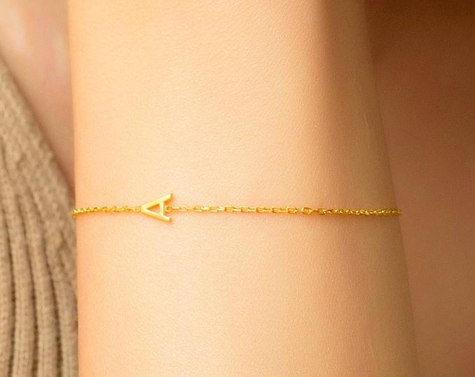 Tiny Letter Bracelet, Couples Bracelet, Solid Silver Letter Initial Bracelet, Bridesmaid Bracelet, Custom Name Bracelet, Sorority Bracelet