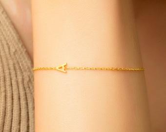 14K Solid Gold Initial Bracelet | Gold Bracelet | Initial Bracelet | Friendship Bracelet | Tiny Letter Gold Bracelet | (5mm - 0.2inches)