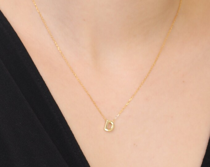 Tiny Gold Initial Necklace, Gold Letter Necklace, Gold Initial Jewelry, Bridesmaid Gift, Personalized Gold Jewelry, Custom Gold Necklace