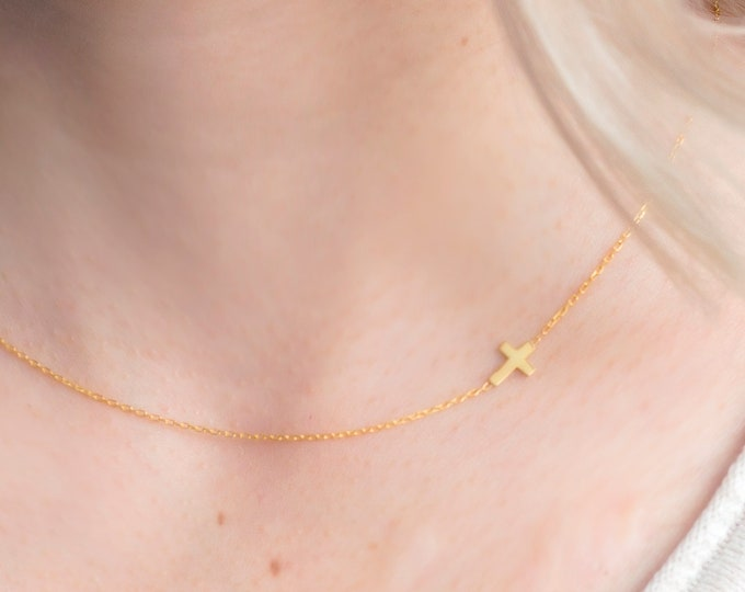 Sideways Cross Necklace, Sideways Cross, Cross Necklace, Dainty Necklace, Side Cross Necklace, Gold Cross Necklace, Minimalist Tiny Necklace