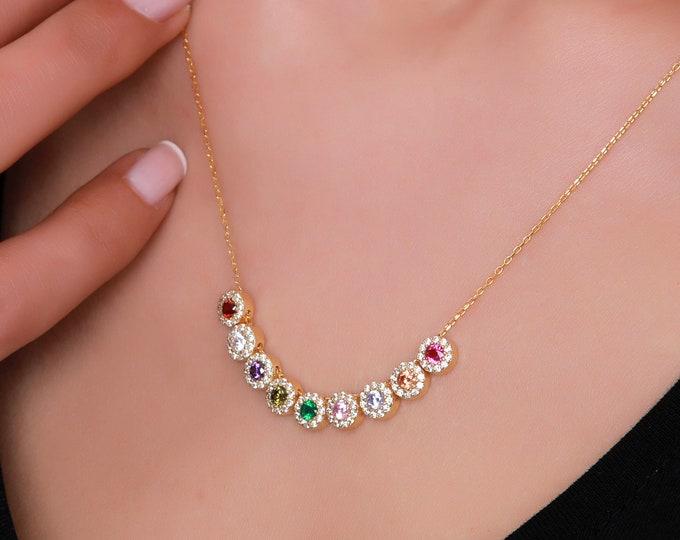 Personalized Birthstone Necklace, Custom Family Birthstone Jewelry, Dainty Gold Mom Necklace