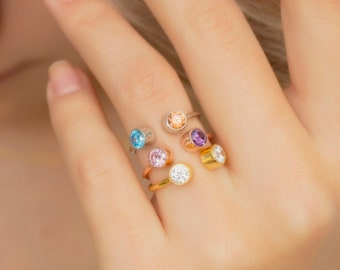 Dual Birthstone Ring, Two Birthstone Ring, Gifts for Her, Sterling Silver Ring, Couples Ring, His and Her Birthstone Ring, Multi Stone Ring
