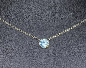 """Aquamarine Necklace, Family Tree Necklace, Birthstone Mother Necklace, Mom Necklace, Grandma Necklace, Mothers Day Gift, 0.20"""""""