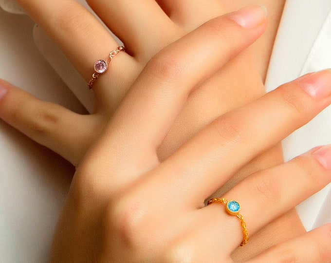 Chain Ring, Chain Birthstone Ring, Chain Ring Birthstone, Birthstone Ring, Stacking Ring, Dainty Ring, Gemstone Ring, Aquamarine Ring