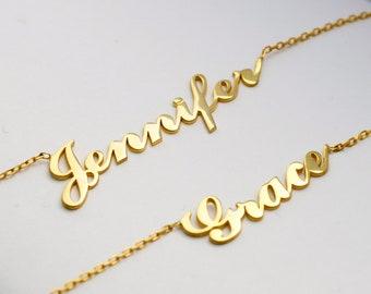 Name Necklace, Nameplate Necklace, Name Necklace Gold, Cursive Name Necklace, Tiny Name Necklace, Gold Name Necklace, Mini Name Necklace