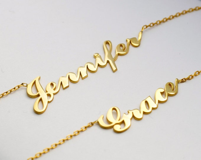 14K Name Necklace, Nameplate Necklace, Name Necklace Gold, Cursive Name Necklace, Tiny Name Necklace, Gold Name Necklace, Mini Name Necklace
