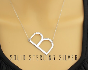 large initial letter necklace letter necklace sterling silver big initial necklace letter necklace large large initial necklace
