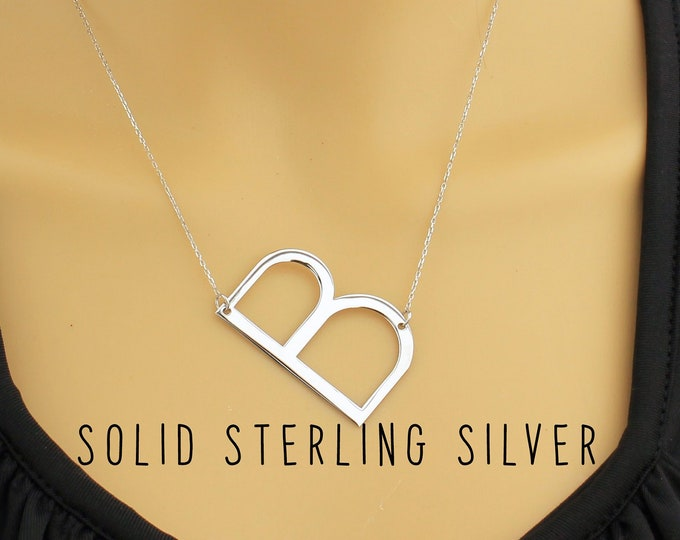 Large Initial Letter Necklace, Letter Necklace Sterling Silver, Big Initial Necklace, Letter Necklace Large, Large Initial Necklace