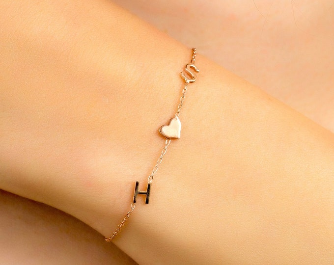 Couples Bracelet with Letters and Icons