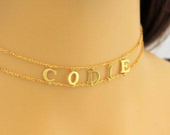 Name Choker, Choker Necklace, Personalized Choker Necklace, Custom Name Choker, Initial Choker, Gold Layered Choker, Silver Choker, Gold