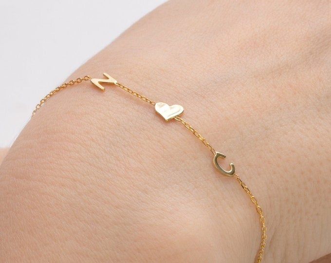 14K Solid Gold Couples Bracelet | Gold Bracelet | Initial Bracelet | Friendship Bracelet | Tiny Letter Gold Bracelet | (5mm - 0.2inches)