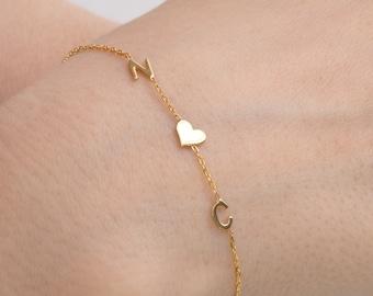 Valentine's Day Gift, Couples Bracelet, Letter Initial Bracelet, Bridesmaid Bracelet, Custom Letter Bracelet, Bracelet, Mothers Day Gift