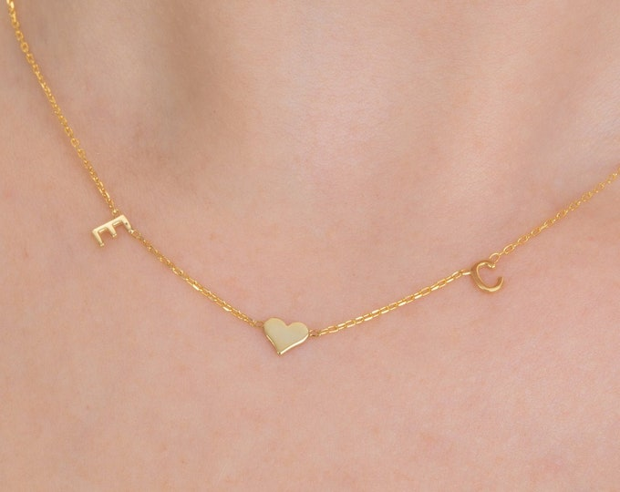 14K Gold Name Necklace Tiny Letter, 14K Gold Initial Necklace, Gold Necklace (5 mm - 0.2 inches)