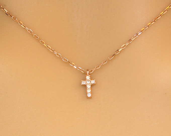 Minimalist Pave Cross Necklace, CZ Cross Necklace, Dainty Cross Necklace, Tiny Cross Necklace, Diamond Cross Necklace
