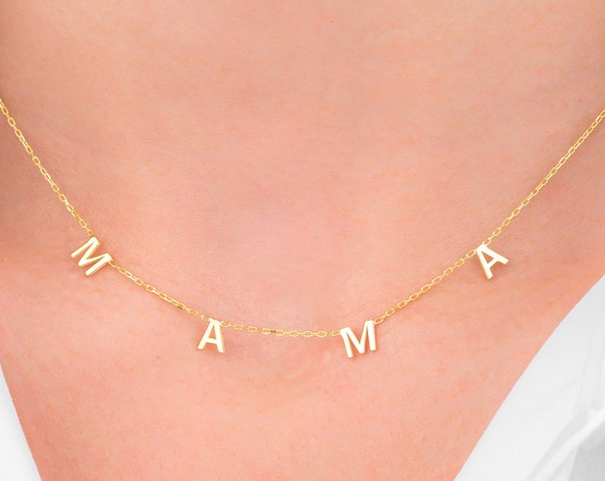 14K Gold Personalized Initial Necklace, 14K Vote Necklace, Mother's Day Gift, Gift For Mom, Gift For Wife (5 mm - 0.2 inches)