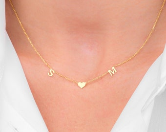 14K Solid Gold Initial Necklace, Custom Letter Necklace, 14K Name Necklace, Gold Necklace, BFF Gifts, Grandma Gift (5 mm - 0.2 inches)