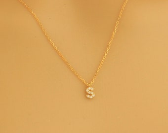 Pave Initial Necklace, CZ Initial Necklace, Dainty Necklace, Tiny Initial Necklace, Gold Initial Necklace, Diamond Necklace, Sterling Silver