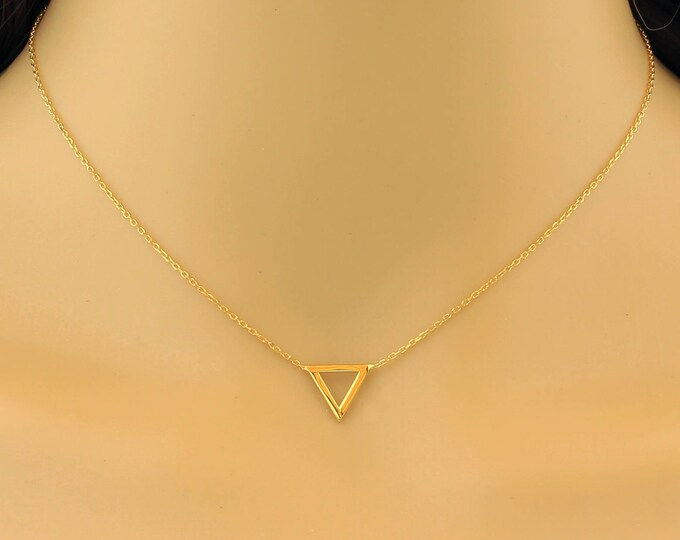 Tiny Triangle Necklace, Dainty Triangle Necklace, Tiny Gold Triangle Necklace, Delicate Necklace, Charm Necklaces, Layered Long, Charm