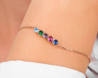 Family Birthstone Bracelet gifts for her, Birthstone Bracelet for Mom, Bridesmaid Gifts, Mothers Day Gift, Christmas Gift
