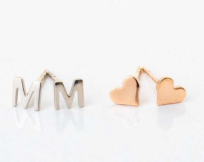 Monogram Earrings, Initial Earrings, Letter Earrings, Name Earrings, Silver Earrings, Stud Letter Earrings, Edgy Earrings, Heart Stud (PAIR)
