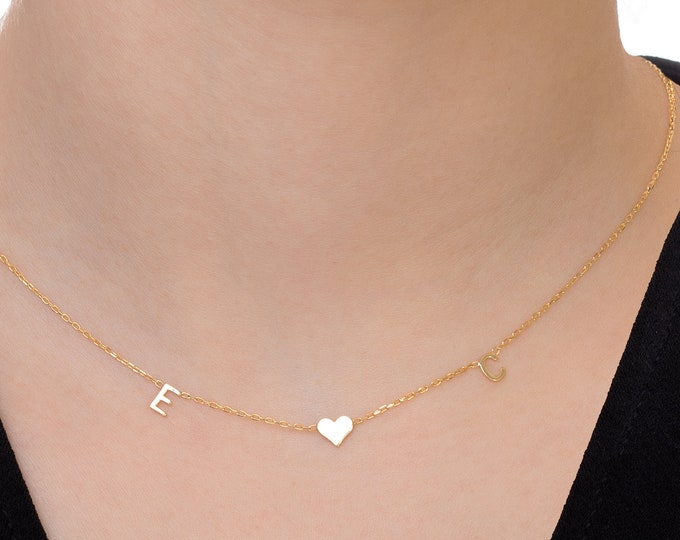 14K Christmas Gift for Mom, Custom Letter Necklace, 14K Gold Initial Necklace, Gold Necklace (5 mm - 0.2 inches)