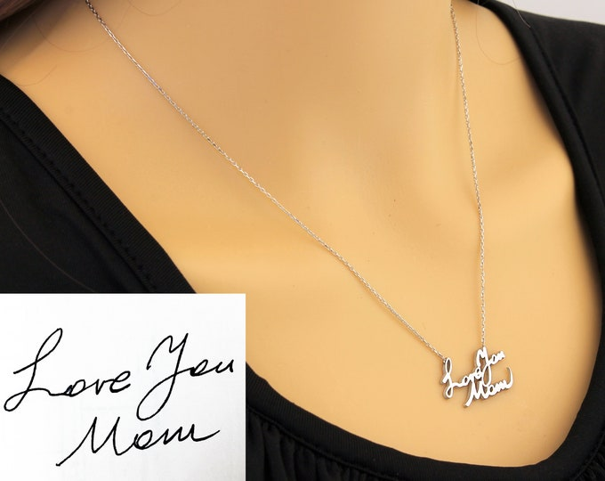 Mothers Day Gift / Handwriting Necklace / Memorial Signature Necklace / Signature Necklace / Memorial Necklace / Custom Handwriting