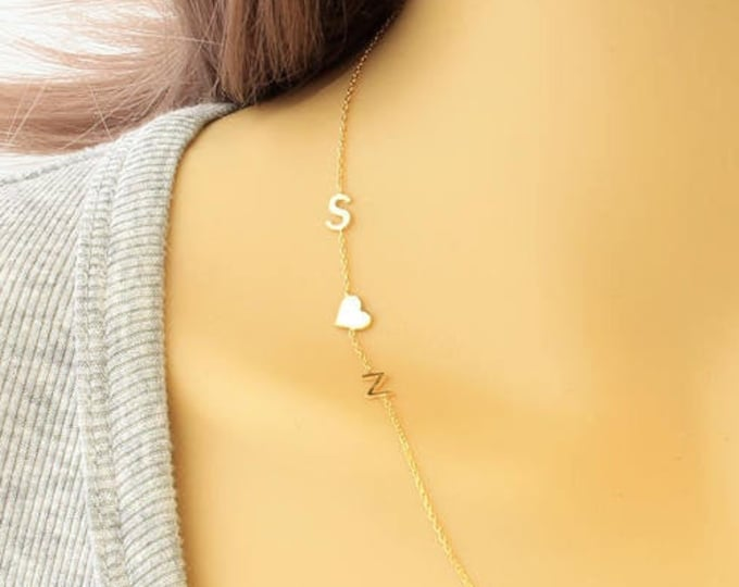 14K Gold Necklace, Sideways Initial Necklace, Tiny Letter Gold Necklace, 14K Gold Asymmetrical Initial Necklace, (5mm - 0.2inches)