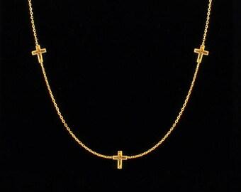 Triple Cross Necklace, Sideways Cross, Cross Necklace, Dainty Cross Necklace, Gold Cross Necklace, Minimalist Tiny Necklace, Christmas Gift
