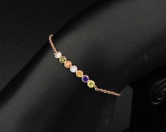 Birthstone Bracelet Mom, Mother Bracelet Birthstones, Family Birthstone Bracelet, Gold Birthstone Bracelet, Bracelet Gift, Custom Bracelet