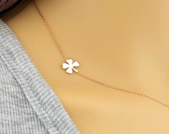 Clover Necklace, Sideways Clover Necklace, Dainty Necklaces, Gold Clover Necklace, Tiny Charm Necklaces, Lucky Charm, Shamrock Charm