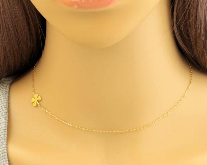Clover Necklace, Sideways Clover Necklace, Dainty Necklaces, Gold Clover Necklace, Tiny Charm Necklaces, Lucky Charm, Shamrock Charm