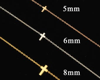 Mothers Day Gift, Cross Necklace, Tiny Cross, Dainty Cross