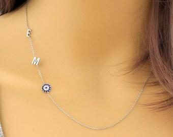 Sideways Necklace, Evil Eye Necklace, Protection Necklace, Dainty Necklace, Personalized Necklace, Charm Necklace, Evil Eye Protection