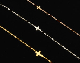 Off Center Cross Necklace, Sideways Cross, Cross Necklace, Dainty Necklace, Gold Cross Necklace, Minimalist Tiny Cross, Tiny Necklace
