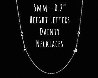 Dainty Initial Necklace, Sideways Initial Necklace, Personalized Necklace, Dainty Necklace, Gifts for Her, Christmas Gift, Necklace
