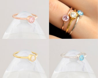 Birthstone Ring, Dainty Gold Ring, Stacking Ring, Minimalist Ring, Gemstone Ring, Dainty Ring, Gemstone Ring, Mothers ring, Aquamarine Ring