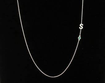 Sideways Initial Necklace, Birthstone Necklace, Personalized Necklace, STERLING SILVER, Personalized Gifts, Gift or Her, Gift For Girlfriend