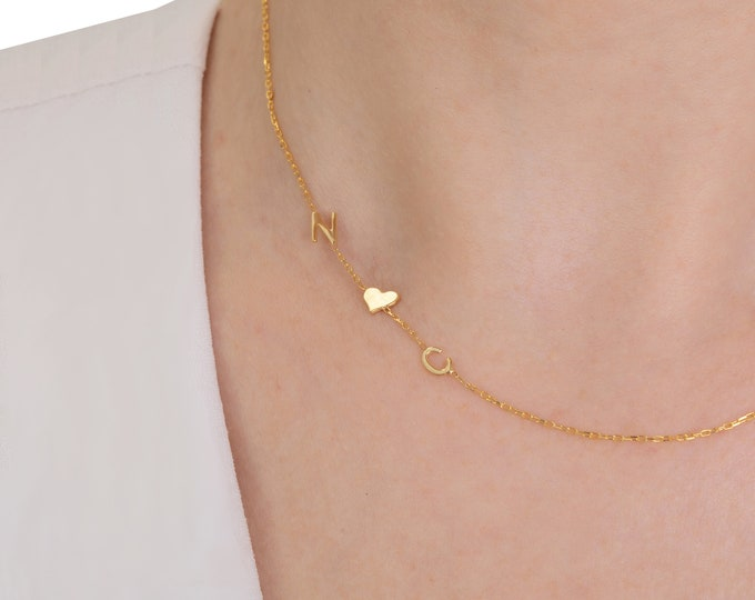 Gold Initial Necklace, Sideways Initial Necklace, Personalized Necklace, Letter Necklace, Dainty Necklace, Mothers Day Gift, Gift for Her