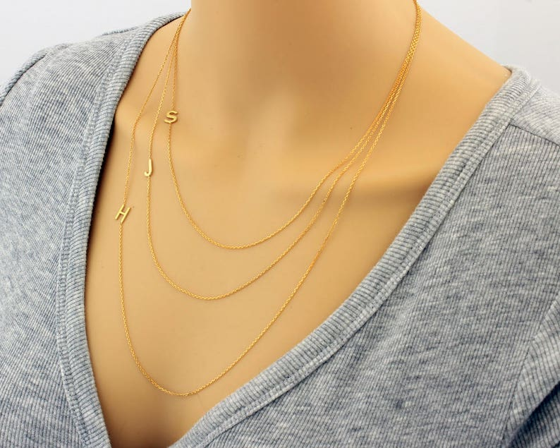 Monogram Necklace Bridesmaid Gifts Personalize Necklace Dainty Necklace Layered Initial Necklace Layered Necklace Letter Necklace