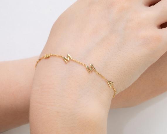 14K Custom Initial Bracelet 5mm - 0.2inches Tiny Letter Gold Bracelet   Friendship Bracelet Personalized Letter Bracelet