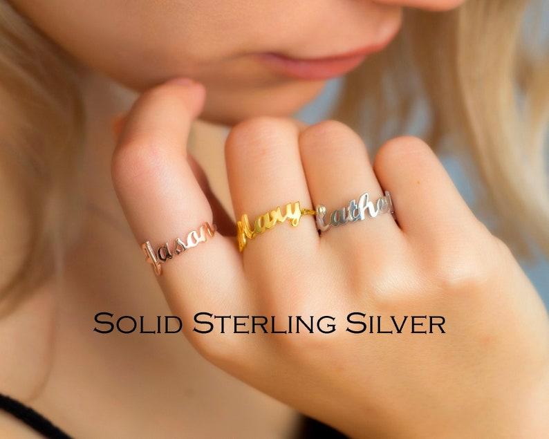 Custom Word Ring Name Rings Name Ring Custom Name Ring Mother/'s Day Gift Personalized Ring Dainty Name Ring Monogram Ring