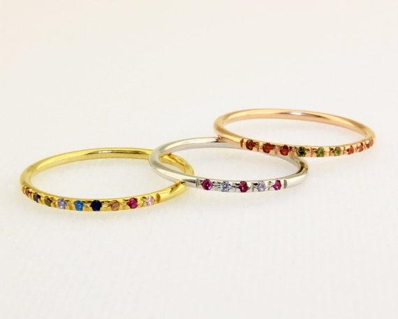 Birthstone Ring Family Birthstone Ring Dainty Ring Diamond Etsy