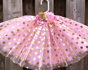 pink with gold polka dots tutu headband pink tutu gold tutu birthday tutu party tutu baby tutu gold pink outfit