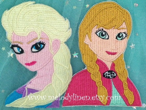Frozen Anna Elsa Embroidered Iron On Large Patches Set of 2