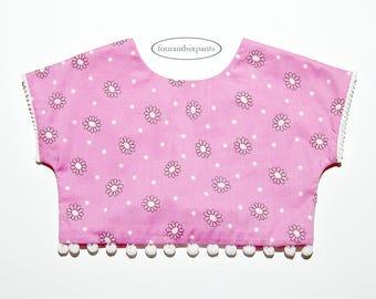 Girls crop top, girls boho top, pink top, toddler blouse, girls tops, toddler girl, crop top, girls clothing sets, bohemian style, gypsy