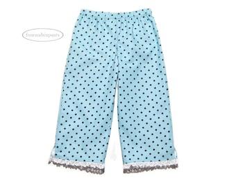 Polka dot pants, Girls capri pants, fully lined pants, toddler girl pants, blue pants, white lace, exclusive girls wear, handmade pants
