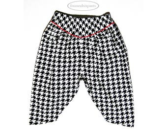 Boys harem pants, black white pants, houndstooth pants, boys boho, harem pants for toddler boys, harem pants, boys pants, baggy harem pants