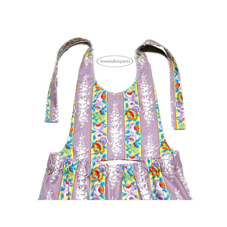 kids romper vintage look toddler girls outfit French vintage wallpaper floral Girl romper purple striped floral size 5 floral pants
