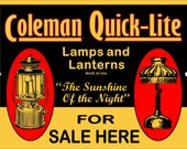 Vintage Retro Reproduction Metal Tin Sign Coleman Lanterns Quick-Lite Kerosene Lamp