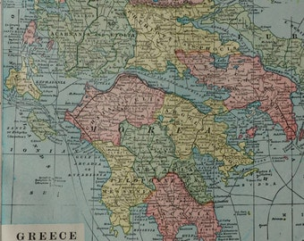 Old map of greece etsy antique color map tique map of greecegood sizeold mapsntage maps113x144 inches or 29x37 cm gumiabroncs Images